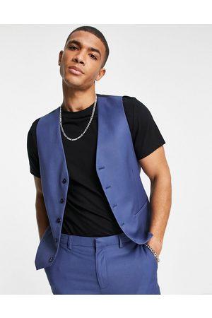Topman Single breasted waistcoat in blue