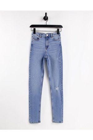 Miss Selfridge Lizzie Tall high waist authentic ripped skinny jean in midwash blue