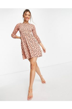 Glamorous Mini tea dress with shirring in ditsy floral