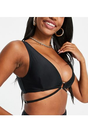 Wolf & Whistle Fuller Bust Exclusive recycled polyester plunge bikini top with strapping and ring detail in black