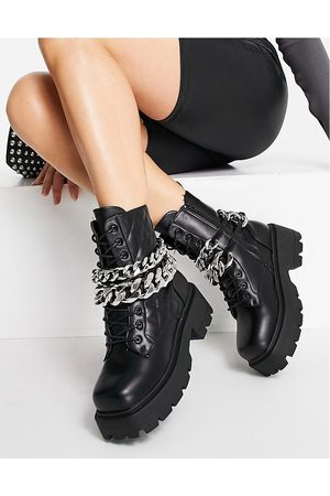 Public Desire Advantage chunky flat ankle boots with chain trim in black