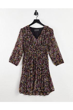 MANGO Chiffon 3/4 sleeve mini dress in floral-Multi