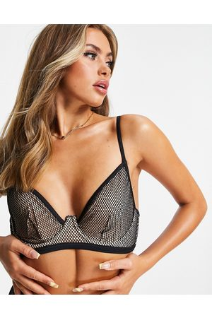 ASOS Contrast fishnet underwired bikini top in black and mink