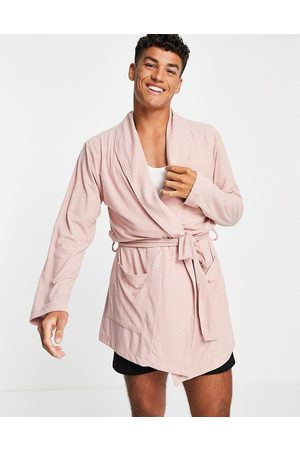 ASOS Co-ord ribbed dressing gown in mauve-Pink