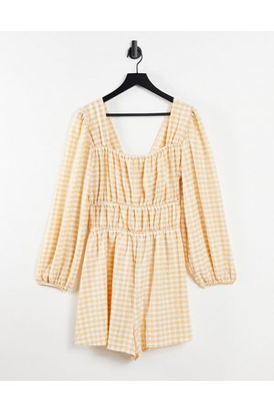 ASOS Square neck shirred waist playsuit in natural gingham-Multi