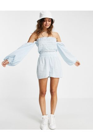 Topshop Stripe tiered top and short set in multi