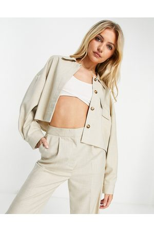 ASOS Tailored clean suit shacket in ecru-White