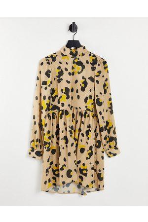 VILA Mini smock dress in print-Neutral
