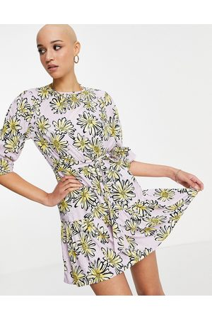 Influence Tie waist mini dress in yellow floral print-Multi
