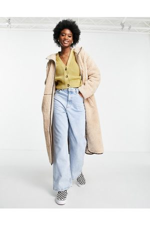 ASOS Fleece coat with contrast stitching in camel-White