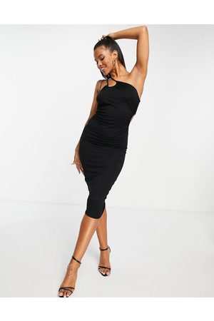 ASOS One shoulder double strap midi dress in black