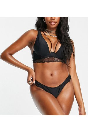 Wolf & Whistle Fuller Bust Exclusive lace detail bikini bottom in black