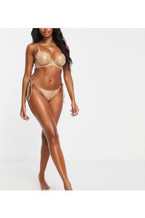 Wolf & Whistle Fuller Bust Exclusive tie side bikini bottom in metallic sand-Neutral