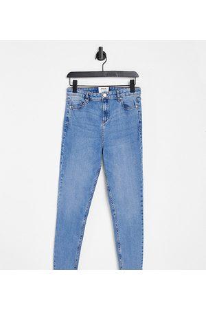 Miss Selfridge Emily Tall high waist ankle grazer skinny jean in midwash blue