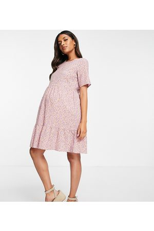Pieces Maternity Mini smock dress in pink ditsy floral-Multi