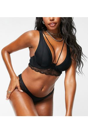 Wolf & Whistle Fuller Bust Exclusive underwired lace bikini top with strapping detail in black