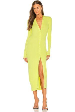 ENZA COSTA Silk Rib Cardigan Midi Dress in - Yellow. Size L (also in M, S, XS).