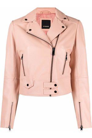 Pinko Cropped leather jacket