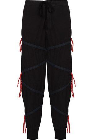 GREG LAUREN Zig-Zag drawstring panelled track pants