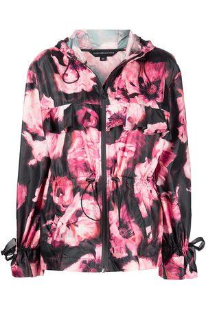Marchesa Notte Floral-print hooded jacket