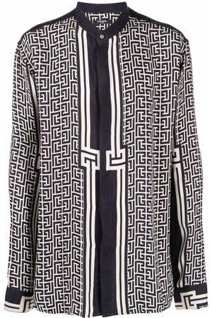 Balmain Monogram-pattern long-sleeve shirt