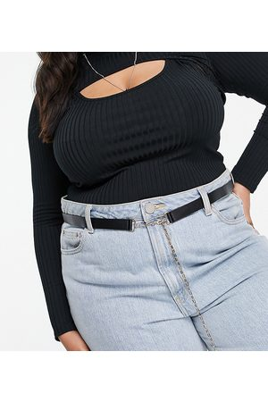 Glamorous Curve Exclusive waist & hip skinny belt in black and chain-Multi