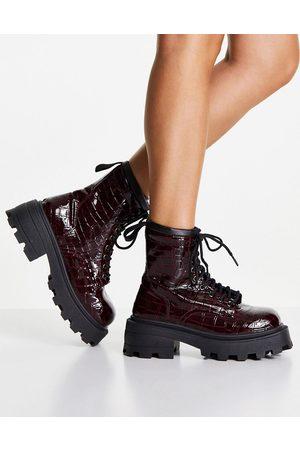 Topshop Damen Cowboy & Bikerboots - Chunky biker boots in burgundy-Red