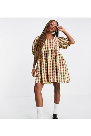 Collusion Oversized gingham mini smock sundress in green and brown-Multi