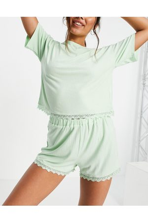 Lost Ink Lace trim jersey pyjama top and short set in mint-Blue