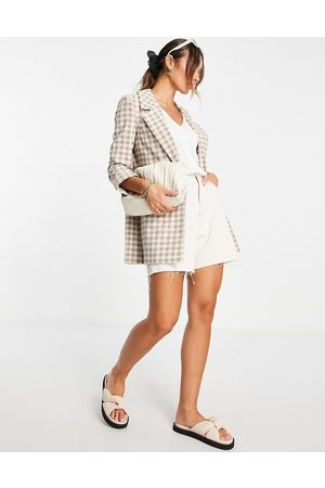 River Island Longline gingham check co-ord blazer in brown