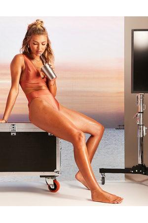 ASOS DESIGN Bandage stud detail high leg high waist bikini bottom in mink-Brown