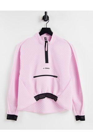 adidas performance Adidas OutdoorsTerrex hiking half zip top in pink