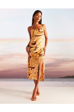 ASOS DESIGN Damen Bedruckte Kleider - Cami midi slip dress in marble print-Multi