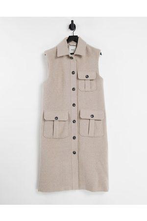 Object Wool mix sleevless vest shacket in -Neutral