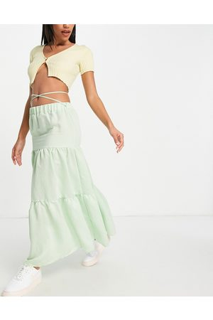 ASOS Tiered maxi skirt in mint-Green