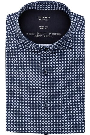 Olymp Herren Business - Jerseyhemd Luxor 24/7 Body Fit blau