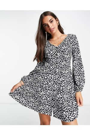 Miss Selfridge Button through fit & flare mini dress in heart print-Black
