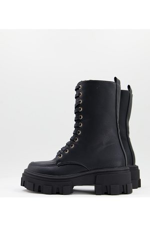 ASOS DESIGN Wide Fit Acoustic chunky lace up boots in black