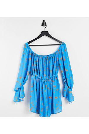 AsYou Bardot playsuit in floral print-Multi
