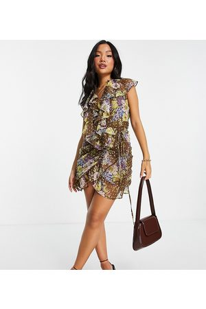 ASOS Petite ASOS DESIGN Petite dobby spot ruffle wrap mini dress with floral print-Multi