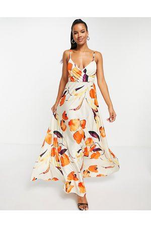 ASOS DESIGN Cami plunge tie back maxi dress in floral print-Multi