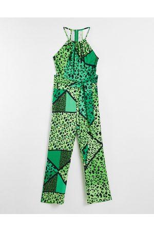 Liquorish Tie waist jumpsuit animal print-Multi
