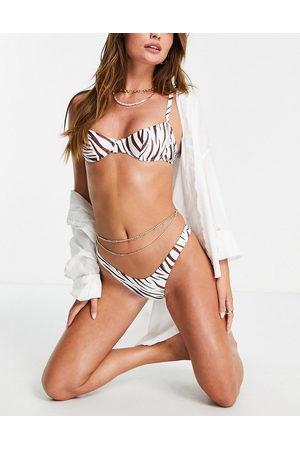 Free Society Underwire bikini top in brown zebra print-Multi