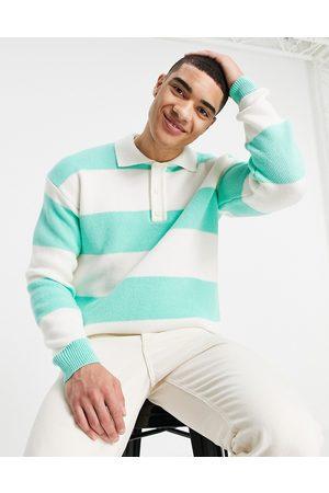 Topman Herren Lange Ärmel - Long sleeve stripe knitted rugby polo in green and ecru