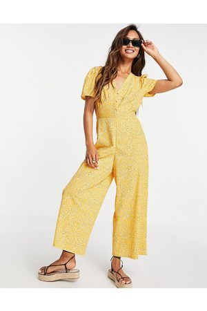 ASOS DESIGN Tea jumpsuit in mustard floral-Multi