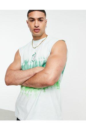 Topman Oversized tie dye tank with grape chest print in green