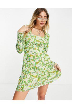 Topshop 70s floral jersey mini dress-Multi