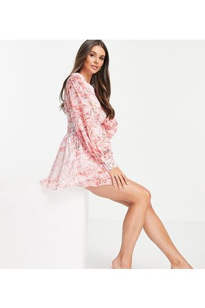 In The Style Tall X Lorna Luxe corset waist playsuit in pink floral print-Multi