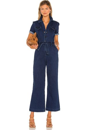 Paige Anessa Short Sleeve Jumpsuit in - Blue. Size 0 (also in 2, 4, 6, 8).