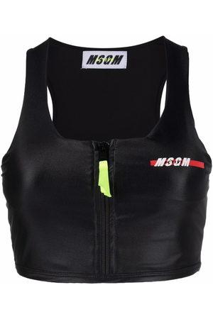 MSGM Chest logo-print sports bra